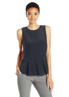 A|X Armani Exchange Women's Silk Peplum Woven Tank Top