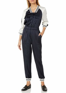 A|X Armani Exchange Women's Silky Jumpsuit with Striped Collar and Cuff Detailing