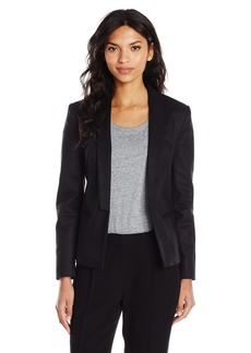 A|X Armani Exchange Women's Single Button Rolled Stripe Sleeve Detail Blazer