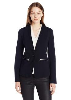 A|X Armani Exchange Women's Single Button Zip Pocket Detail Jersey Blazer