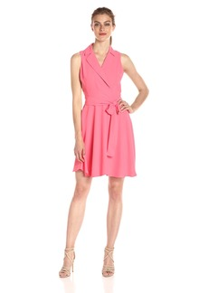 A|X Armani Exchange Women's Sleeveless Collared Belted Woven Dress