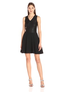 A|X Armani Exchange Women's Sleeveless Crew Neck Fit and Flare Dress