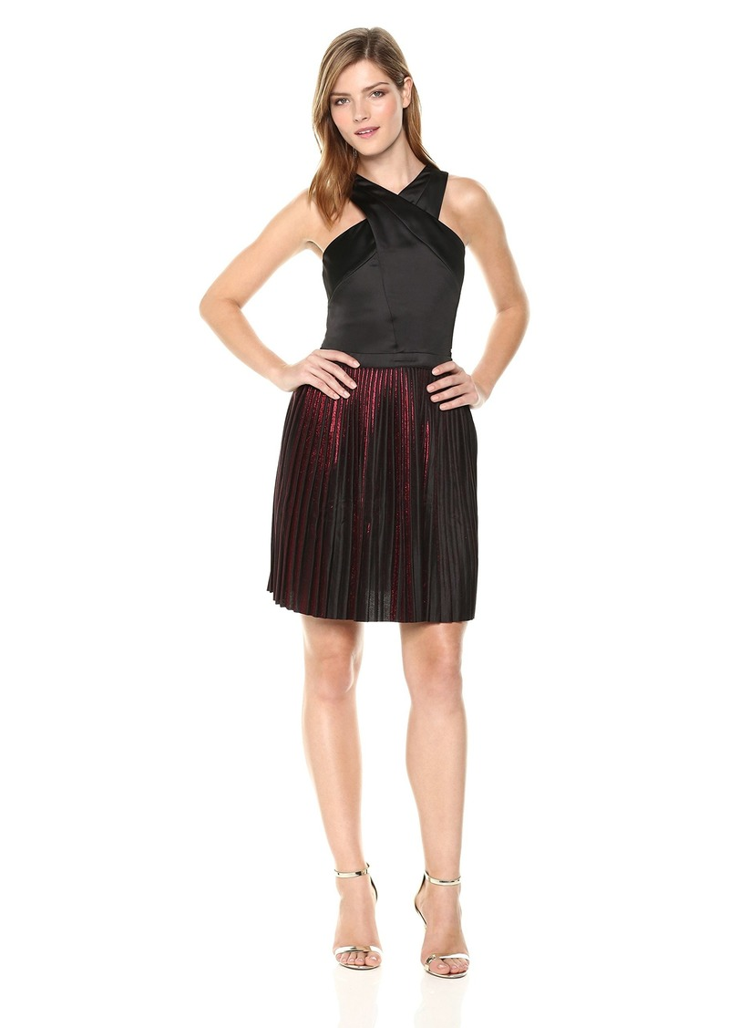 A|X Armani Exchange Women's Sleeveless Criss-Cross Pleated Dress Black/red