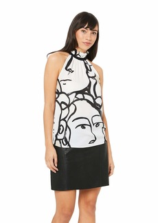 A|X Armani Exchange Women's Sleeveless High Ruffled Neck Top with Asbtract Face Print White/Black a.O.Pure S