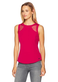 A|X Armani Exchange Women's Sleeveless Mesh Cutout Blouse Royal red L