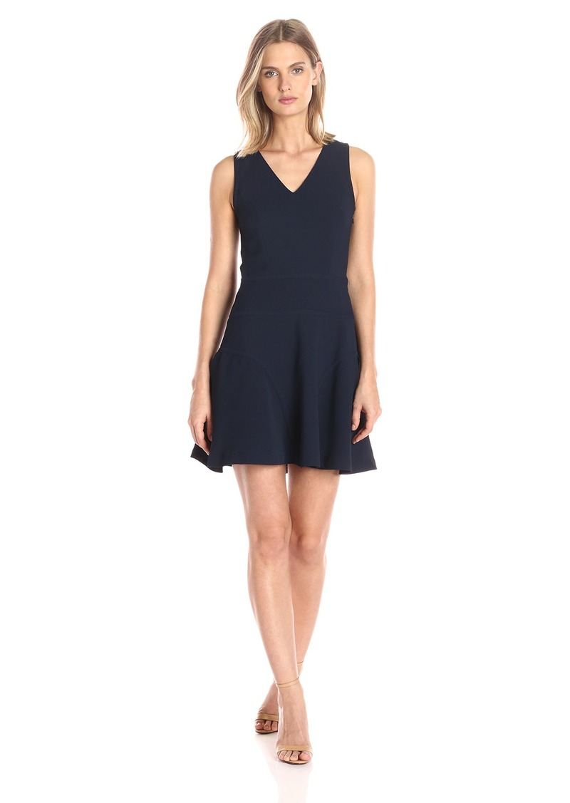 A|X Armani Exchange Women's Sleeveless V-Neck Fit and Flare Dress