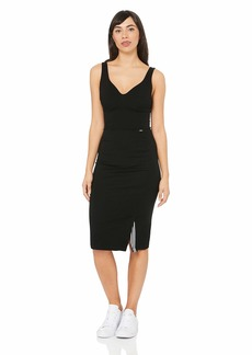 A|X Armani Exchange Women's Sleeveless V-Neck Fitted Long Dress with Slit  XL