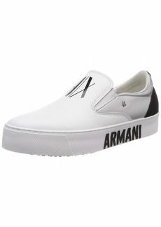 A|X Armani Exchange Women's Slip ON Sneaker White+Silver+Black
