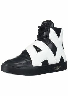 A|X Armani Exchange Women's Sneaker High Top with Side Logo Walking Shoe Black with White 3M Medium EU ( US)