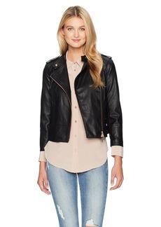 A X Armani Exchange Women's Solid Eco Leather Moto Jacket  XS
