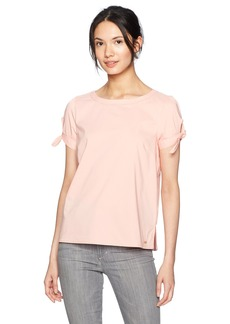 A|X Armani Exchange Women's Solid Sleeve Tie Blouse  S