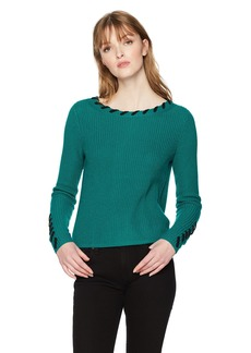 A|X Armani Exchange Women's Solid Sweater with Visible Stitching  S