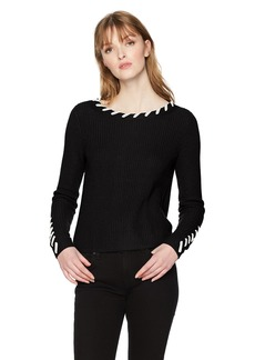 A X Armani Exchange Women's Solid Sweater with Visible Stitching  XS