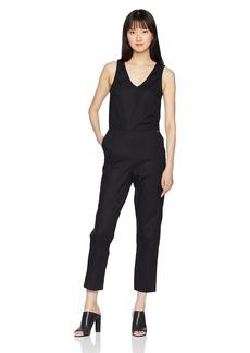 A X Armani Exchange Women's Solid V Neck Jumpsuit