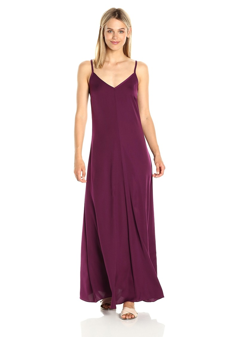A|X Armani Exchange Women's Spaghetti Strap V Neck Woven Maxi Dress