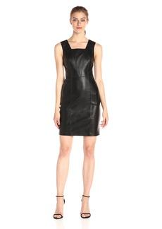 A|X Armani Exchange Women's Square Neck Sleeveless Eco-Leather Dress