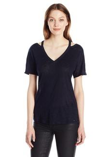 A X Armani Exchange Women's Strap Fashion Short Sleeve Linen Jersey Tee