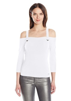 A|X Armani Exchange Women's Strap Hardware Detail 3/4 Sleeve Cold Shoulder Top