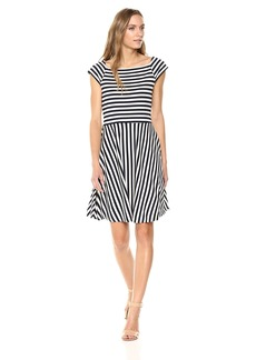 A|X Armani Exchange Women's Stripe Fit and Flare Dress Navy/White S