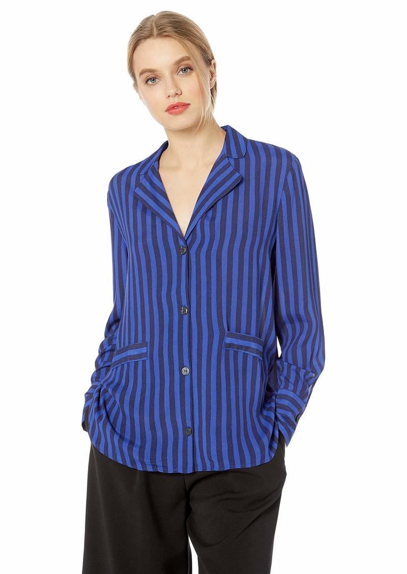 A|X Armani Exchange Women's Striped Button-Up Shirt True Blue/Black STRI M