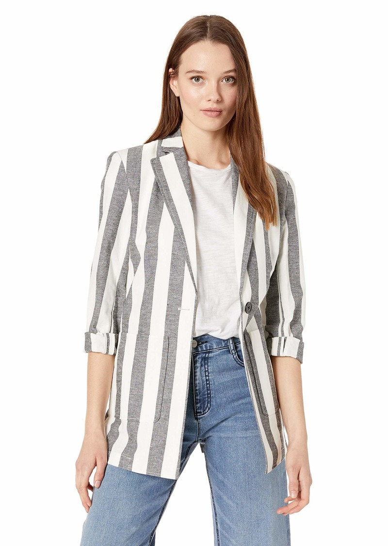 A|X Armani Exchange Women's Striped Good Vibes Blazer Black/Martin