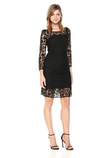 A|X Armani Exchange Women's Three-Quarter Sleeved Dress WTH Lace Overlay