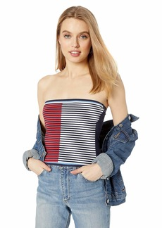 A|X Armani Exchange Women's Two Toned Striped Tube Top Multi XS
