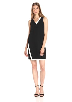 A|X Armani Exchange Women's V Neck Asymmetrical Color Block Shift Sleeveless Dress