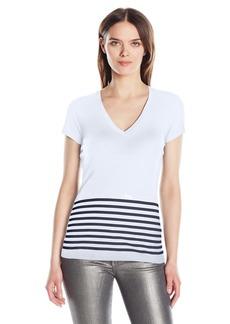 A|X Armani Exchange Women's V Neck Bottom Stripe Detail Jersey T-Shirt