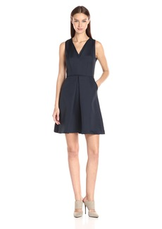 A|X Armani Exchange Women's V Neck Fit and Flare Dress