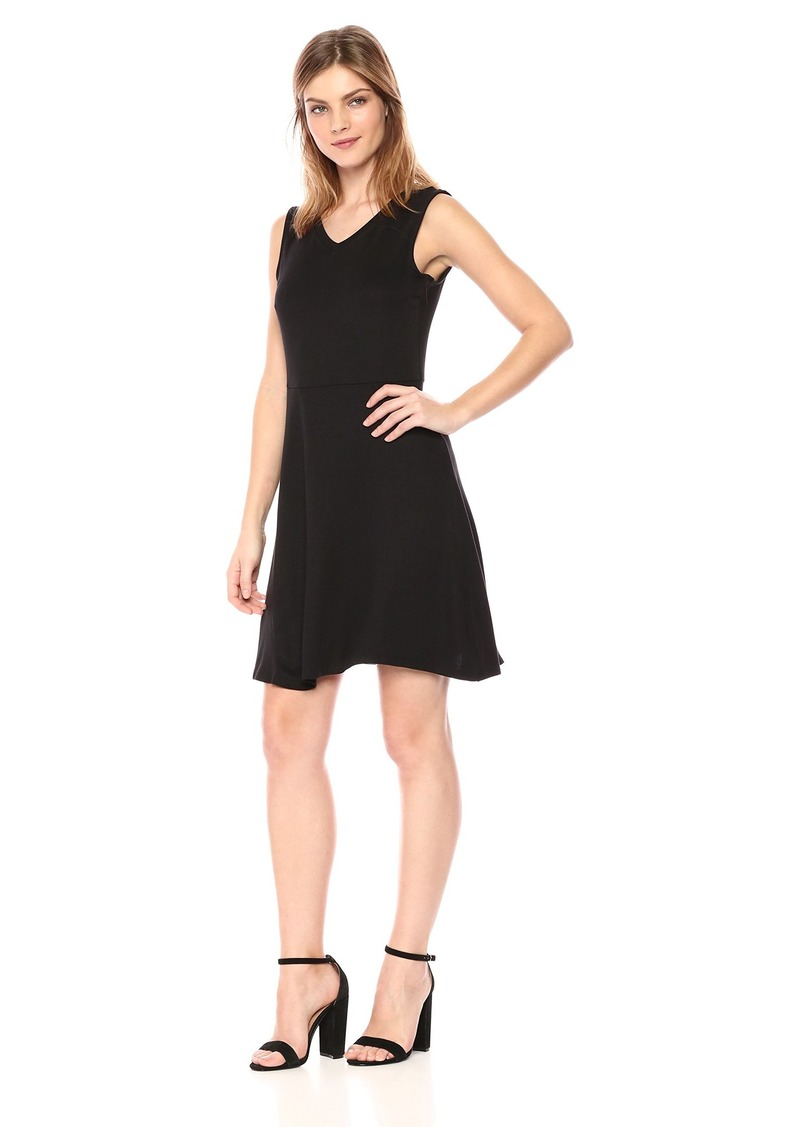 A|X Armani Exchange Women's V-Neck Fit and Flare Sleeveless Knee Length Dress  S
