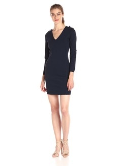 A|X Armani Exchange Women's V Neck Long Sleeve Single Button Details Bodycon Dress