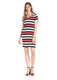 A|X Armani Exchange Women's V Neck Short Sleeve Tricolor Shift Dress