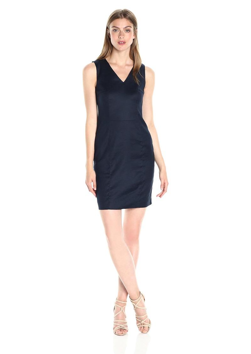 A|X Armani Exchange Women's V Neck Short Sleeved Linen Mini Shift Dress
