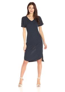 A|X Armani Exchange Women's V Neck Shortsleeve Midi Pinstripe Dress