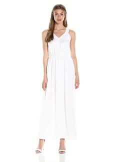 A|X Armani Exchange Women's V Neck Sleeveless Elastic Waist Maxi Dress