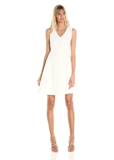A|X Armani Exchange Women's V Neck Sleeveless Fit and Flare Dress
