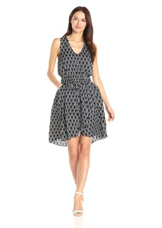 A|X Armani Exchange Women's V Neck Sleevless Elastic Waist Band Fit and Flare Dress