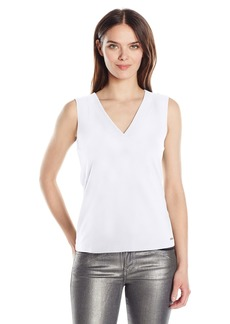 A|X Armani Exchange Women's V Neck Tie BCK Detail Sleeveless Jersey Top