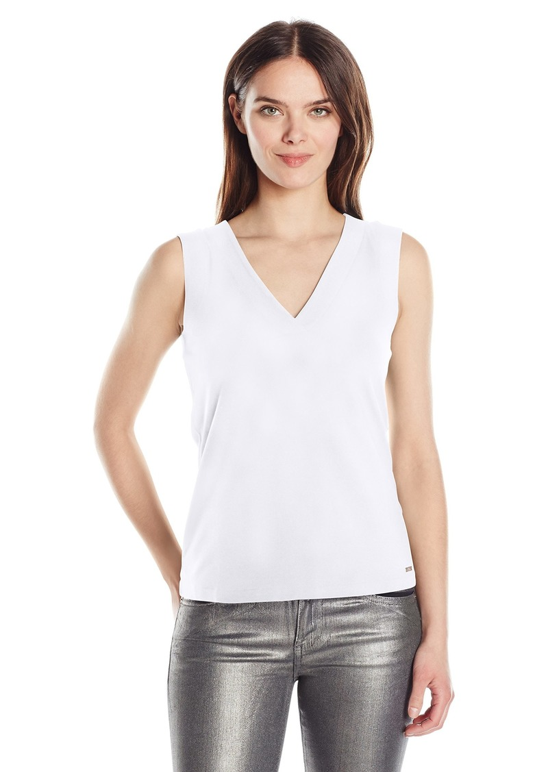 A|X Armani Exchange Women's V Neck Tie BCK Detail Sleeveless Jersey Top