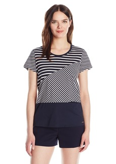 A|X Armani Exchange Women's Variant Stripes Jersey Shirt Sleeve Top