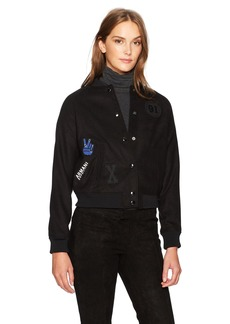 A|X Armani Exchange Women's Varsity Jacket With Patches  S
