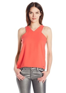 A|X Armani Exchange Women's X Neck Line Woven Tank Top