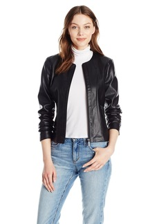A|X Armani Exchange Women's Zip Detail Crew Neck Eco-Leather Jacket