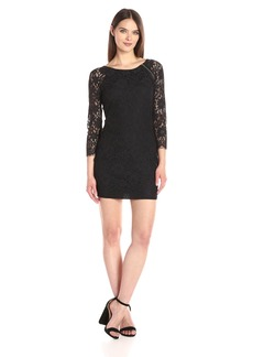 A|X Armani Exchange Women's Zip Detail Lace Scallop above the Knee Woven Dress