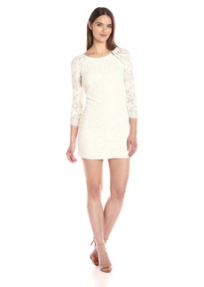 A|X Armani Exchange Women's Zip Detail Lace Scallop above The Knee Woven Dress
