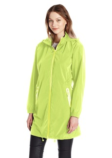 A|X Armani Exchange Women's Zip up Hooded Water Resistent Rain Coat