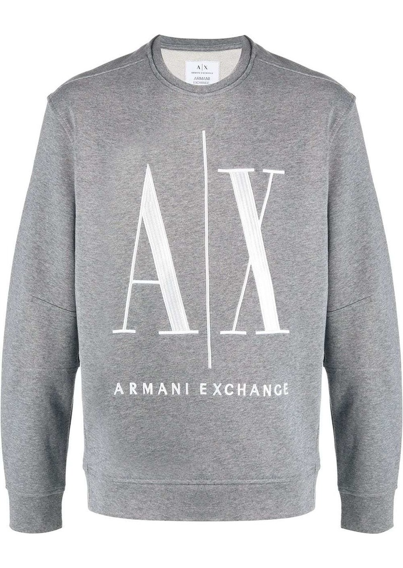 Armani Exchange crew neck logo embroidered sweatshirt