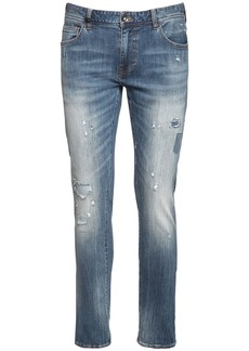 Armani Exchange Distressed Stretch Cotton Denim Jeans