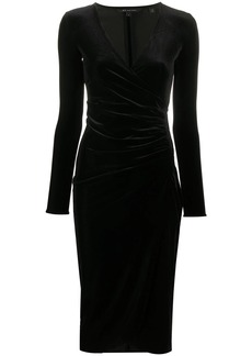 Armani Exchange draped midi fitted dress